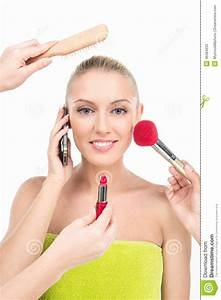 Woman Doing Make Up With Many Hands And Arms Helping Her ...