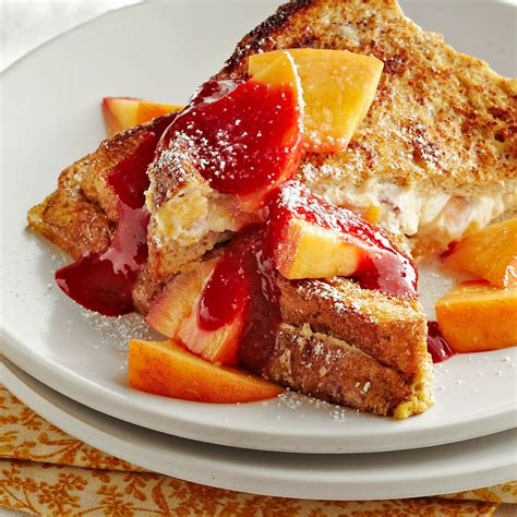 Overnight Peach Raspberry French Toast Recipe Eatingwell