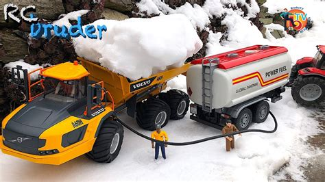bruder truck volvo  tractor  tank trailer youtube