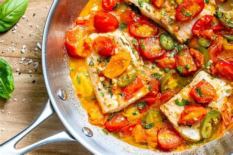 tilapia white fish recipe in tomato basil sauce eatwell101