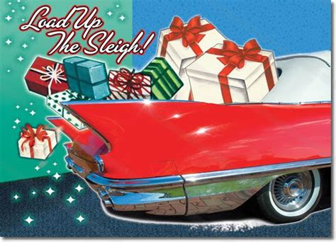 classic car santa claus christmas cards package