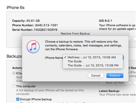 restore iphone backup itunes can t restore iphone 6s to iphone 5 backup