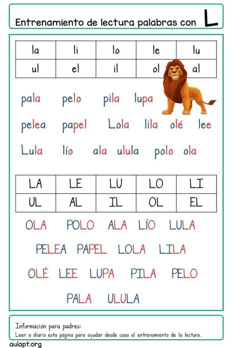La Da L by Entrenamiento De La Lectura En Casa Letra Imprenta P L S
