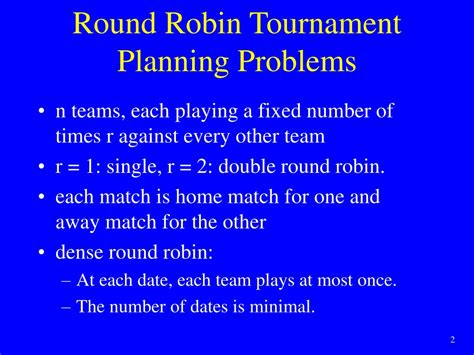 Ppt Constraint Based Round Robin Tournament Planning