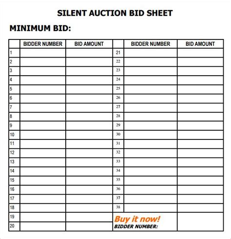 Bid Free Free 6 Silent Auction Bid Sheet Templates In