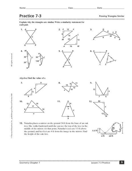 proving triangles similar worksheet   grade