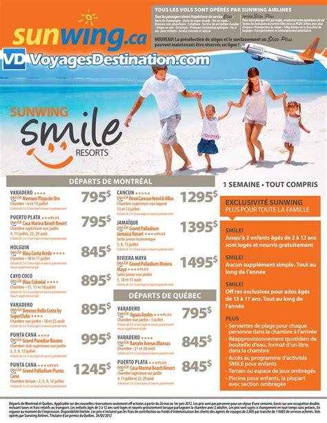 exclusivit 233 sunwing smile resorts d 233 part de montr 233 al et qu 233 bec