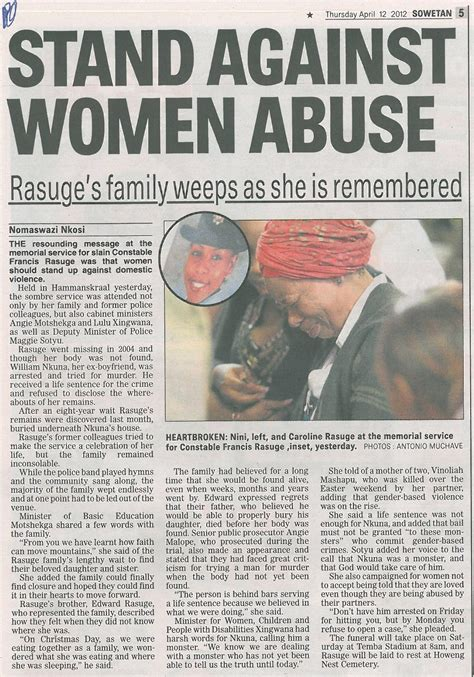 stand  women abuse sowetan gender links
