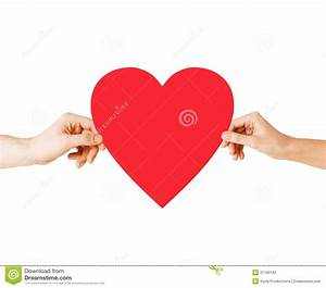 Couple Hands Holding Red Heart Stock Photography - Image ...