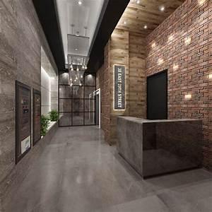 modern concrete brick lobby - Google Search | gym lobby ...