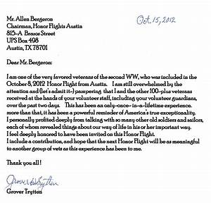 thank you from our wwii veterans honor flight austin With veterans day thank you letter template
