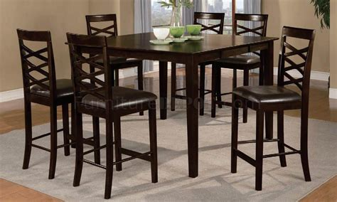 espresso finish 7pc contemporary pub dining table set