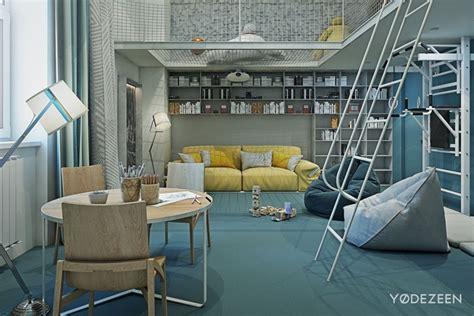 chambre mur bleu aménagement intérieur maison de luxe adaptée aux enfants