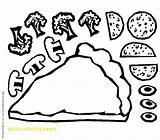 Pizza Coloring Pages Toppings Clipart Printable Drawing Craft Sheets Sheet Steve Preschool Pete Minecraft Slice Paper Pdf Sketch Crafts Hut sketch template