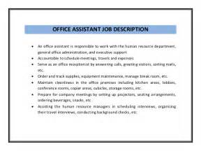 office assistant description resume office assistant resume sle pdf