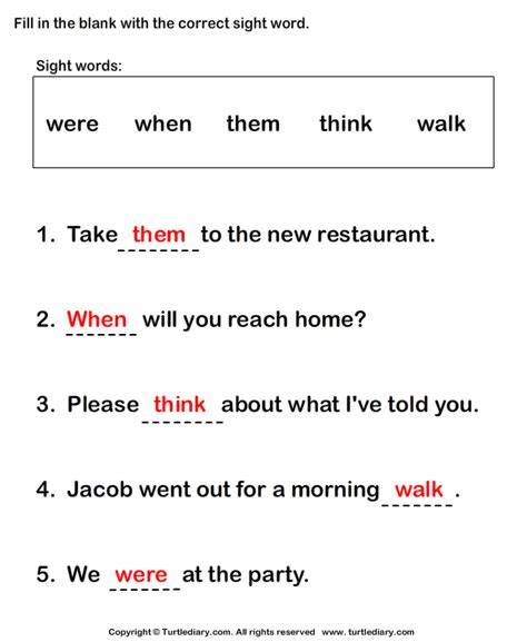 writing sight words in sentences worksheet turtle diary