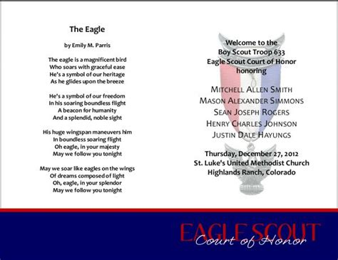 eagle scout court of honor program template eagle scout quotes quotesgram
