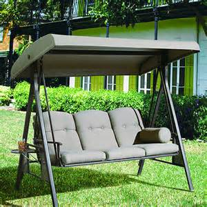 outdoor 3 seat canopy porch patio swing hammock cup holder
