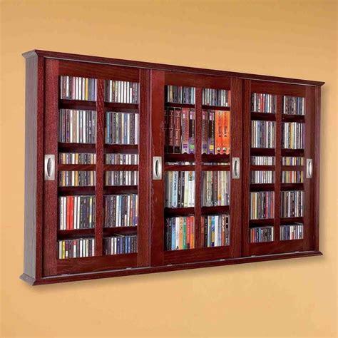 New Dvd Cd Media Storage Wall Cabinet Glass Doors Wood
