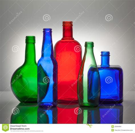 composition  color glass bottles stock photo image