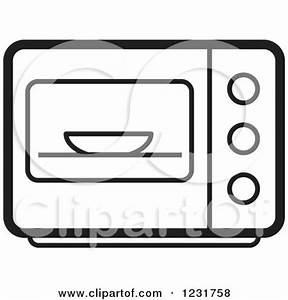 Clipart of a Black and White Microwave Icon - Royalty Free ...