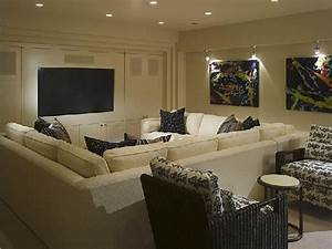 suzie great media room in basement cream sectional sofa With sectional sofa in basement