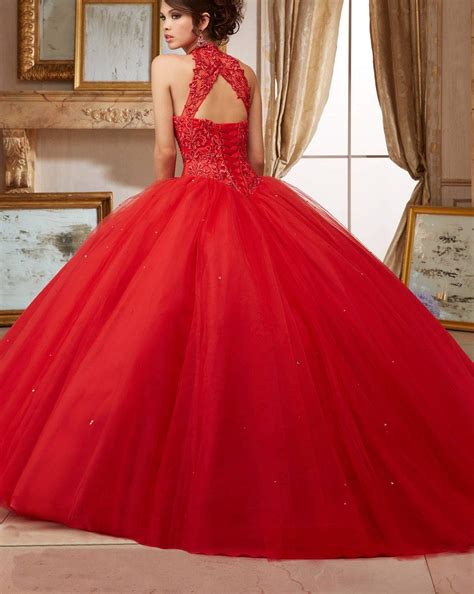 Dark Red Puffy High Neck Lace Applique Tulle Quinceanera ...