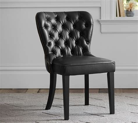 caldwell leather dining chair pottery barn