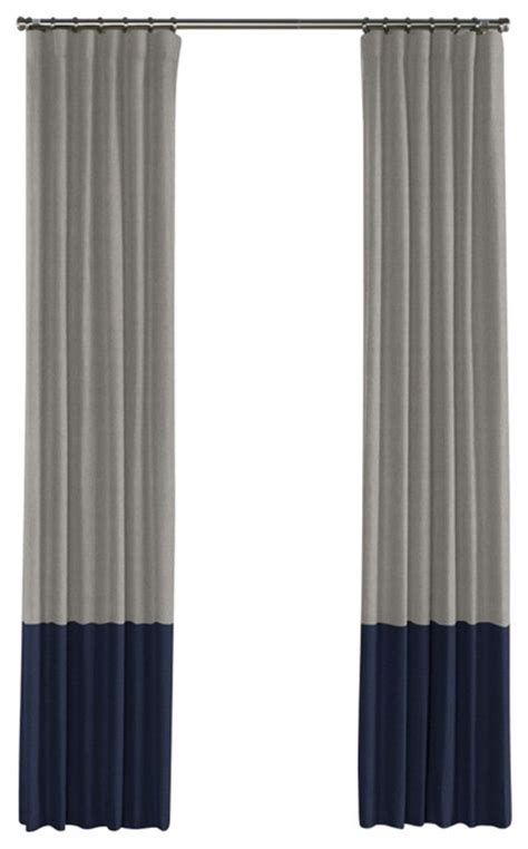 gray and navy linen color block curtain single panel