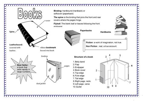parts of a book worksheet free esl printable worksheets
