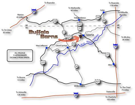 Directions to Buffalo Barns - Sparta - North Carolina
