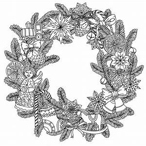 adult christmas coloring pages - christmas wreath christmas adult coloring pages