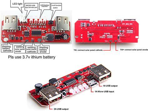 solar power bank pcb  led diy usb charger circuit