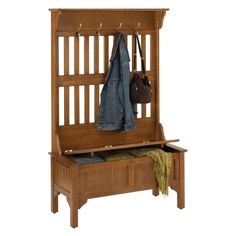 Hall Tree Storage Bench Entryway Coat Rack Stand Home