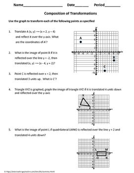 compositions of transformations worksheet geometry worksheet composition of transformations by my geometry world