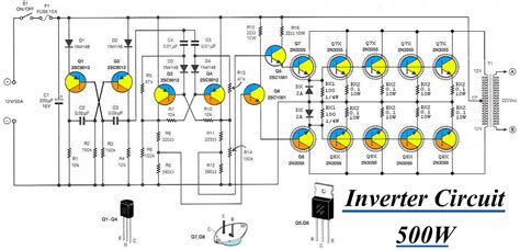 inverter circuit 12vdc to 220v 50hz 500w electronic circuit