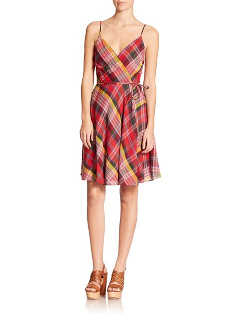 Lyst - Polo ralph lauren Plaid Wrap Dress in Red