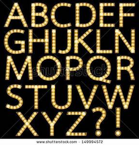theater marquee lights font set of golden broadway light With marquee alphabet letters