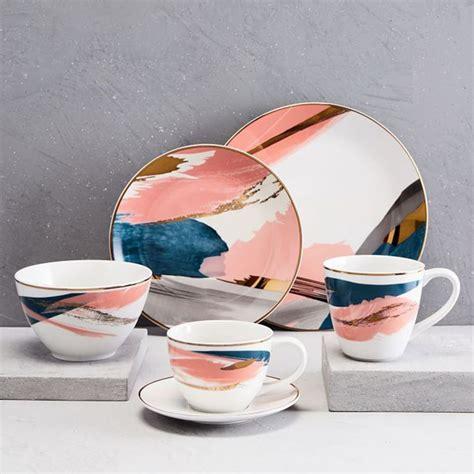 dinnerware abstract brushstroke dinner plate west elm sets plates ceramic salad westelm inspired stoneware pink tableware kitchen everyday teacup saucer