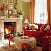 Photos Of Living Rooms With Green Walls by Green Living Room With Red Sofa Stool And Curtains