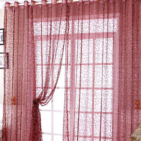 floral voile door window curtain drape panel sheer scarf