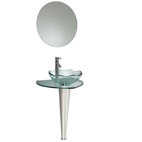 fresca netto vessel sink in wavy edge glass with mirror