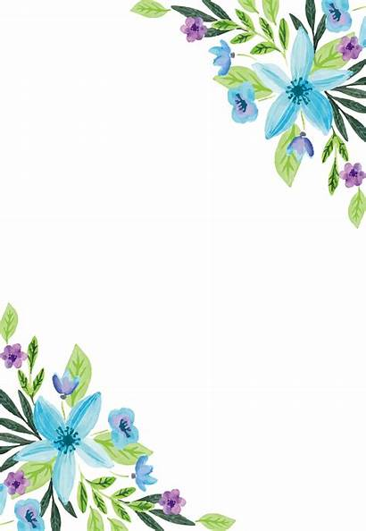 Border Flower Water Watercolor Transparent Floral Painting