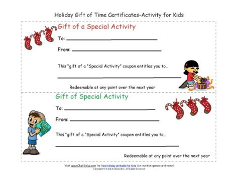 christmas activity forwork gift of time coupon certificates