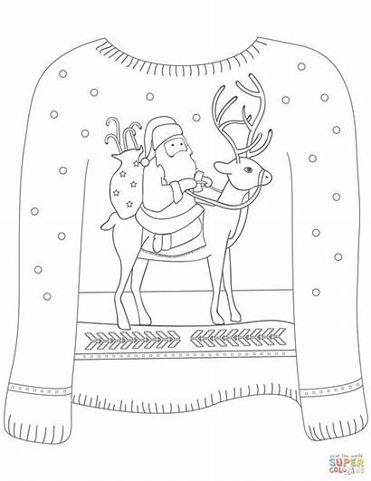 Sweater Ugly Coloring Christmas Santa Reindeer Pages