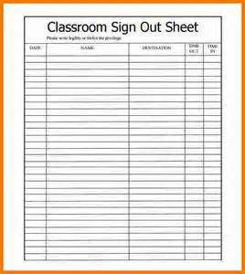 Attendance Sign Out Sheet Template
