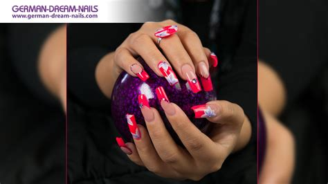 Pretty Neon Pink One Stroke Nails By Gdn De