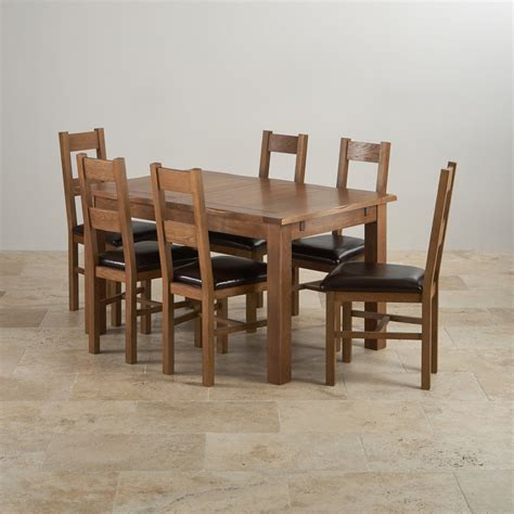 rushmere extending dining table in rustic oak 6 leather