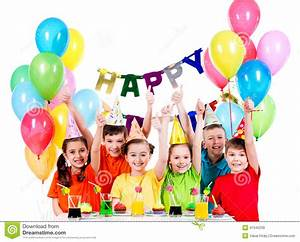 Group Of Children Having Fun At The Birthday Party. Stock ...