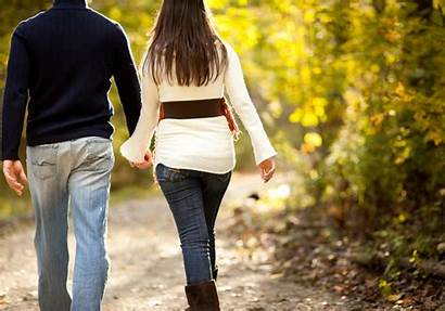Couples Happy Walking Couple Together Walk Side